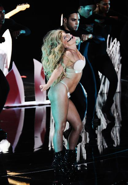 """Lady Gaga performs """"Applause"""" at the MTV Video Music Awards on Sunday, Aug. 25, 2013, at the Barclays Center in the Brooklyn borough of New York. (Photo by Charles Sykes/Invision/AP)"""