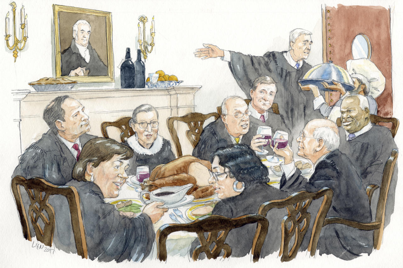 """<p> This illustration provided by Art Lien via the Supreme Court Historical Society from """"Table for 9: Supreme Court Food Traditions & Recipes"""" shows the Supreme Court justices eating together, which they do regularly. The new book, out in December 2017, is part history book, part cookbook. It includes more than three dozen recipes associated with justices and their families. (Art Lien/Supreme Court Historical Society via AP) </p>"""