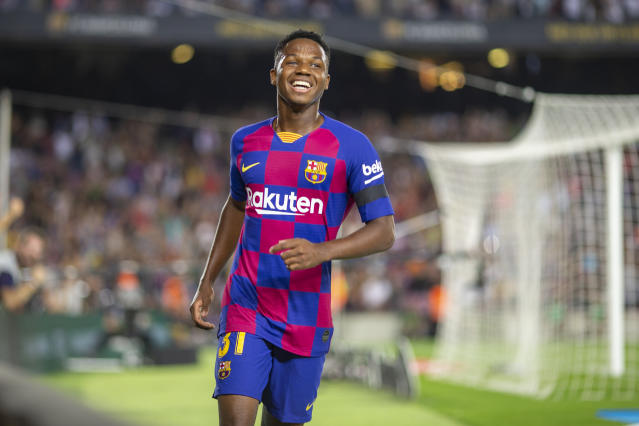 BARCELONA, SPAIN - September 14: Anssumane Fati #31 of Barcelona reacts after providing the assist for his sides second goal during the Barcelona V Valencia, La Liga regular season match at Estadio Camp Nou on September 14th 2019 in Barcelona, Spain. (Photo by Tim Clayton/Corbis via Getty Images)