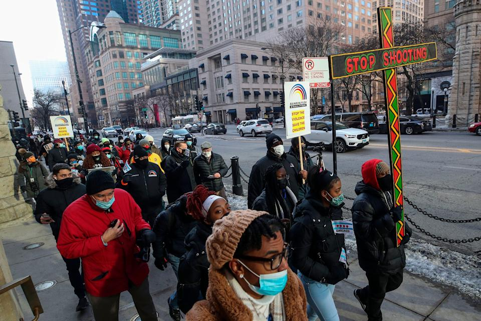 A march against gun violence in Chicago in December 2020. (AFP via Getty Images)