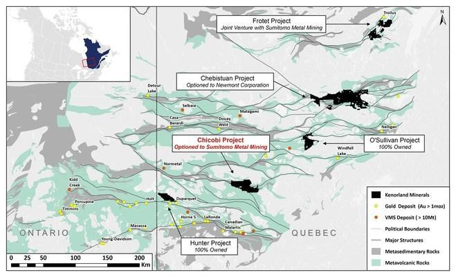 Figure 3. Locations of the Kenorland Minerals Quebec project (CNW Group / Kenorland Minerals Ltd.)