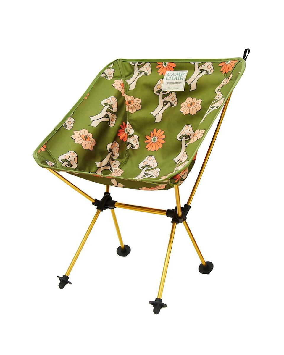 """<p><strong>Parks Project</strong></p><p>parksproject.us</p><p><strong>$110.00</strong></p><p><a href=""""https://www.parksproject.us/products/shrooms-packable-camp-chair"""" rel=""""nofollow noopener"""" target=""""_blank"""" data-ylk=""""slk:Shop Now"""" class=""""link rapid-noclick-resp"""">Shop Now</a></p><p>Dad, Mom, your siblings—everyone in the family will absolutely *love* kicking back in this little mushroom-printed cutie. </p>"""