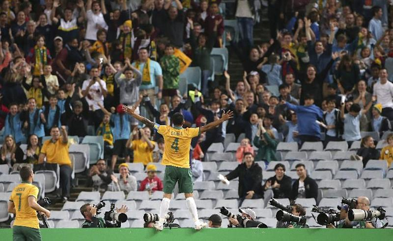 Australia's Tim Cahill stands on a fence and celebrates scoring a goal against South Africa during their friendly soccer match in Sydney, Monday, May 26, 2014