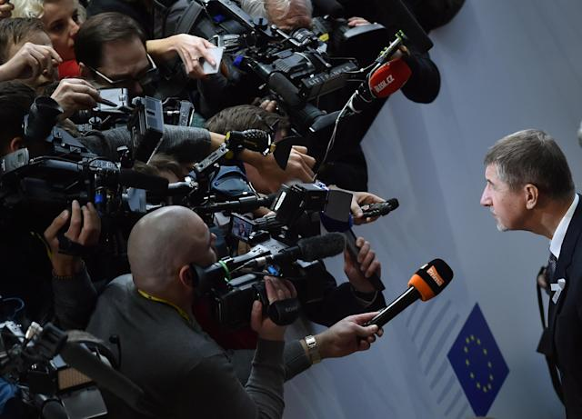Czech Prime Minister Andrej Babis talks with the media as he arrives at a European Union leaders summit in Brussels, Belgium, March 22, 2018. REUTERS/Eric Vidal TPX IMAGES OF THE DAY