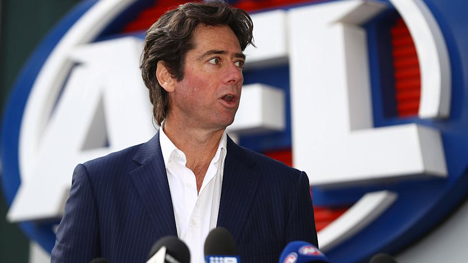 Seen here, AFL CEO Gillon McLachlan talking to the media.