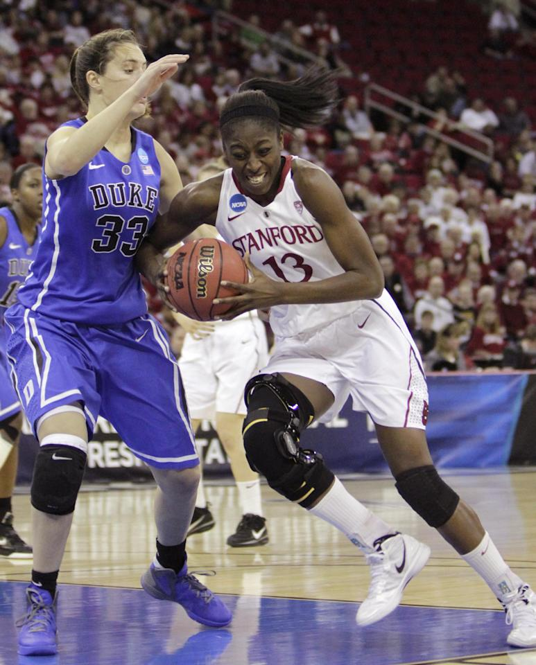 Stanford's Chiney Ogwumike, right, drives to the basket against Duke's Haley Peters during the first half of an NCAA women's tournament regional final college basketball game, Monday, March 26, 2012, in Fresno, Calif.(AP Photo/Rich Pedroncelli)