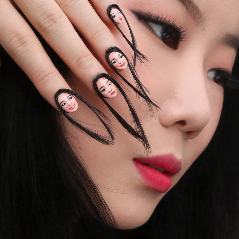 This Artist Created Selfie Nails, Complete With Hair!