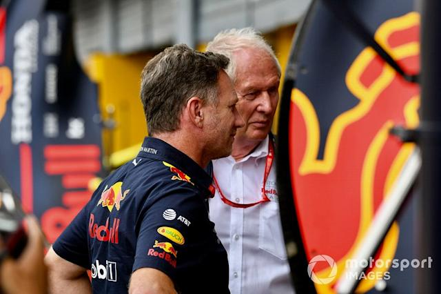 "Christian Horner, Team Principal, Red Bull Racing, e Helmut Marko, Consultant, Red Bull Racing <span class=""copyright"">Jerry Andre / Sutton Images</span>"