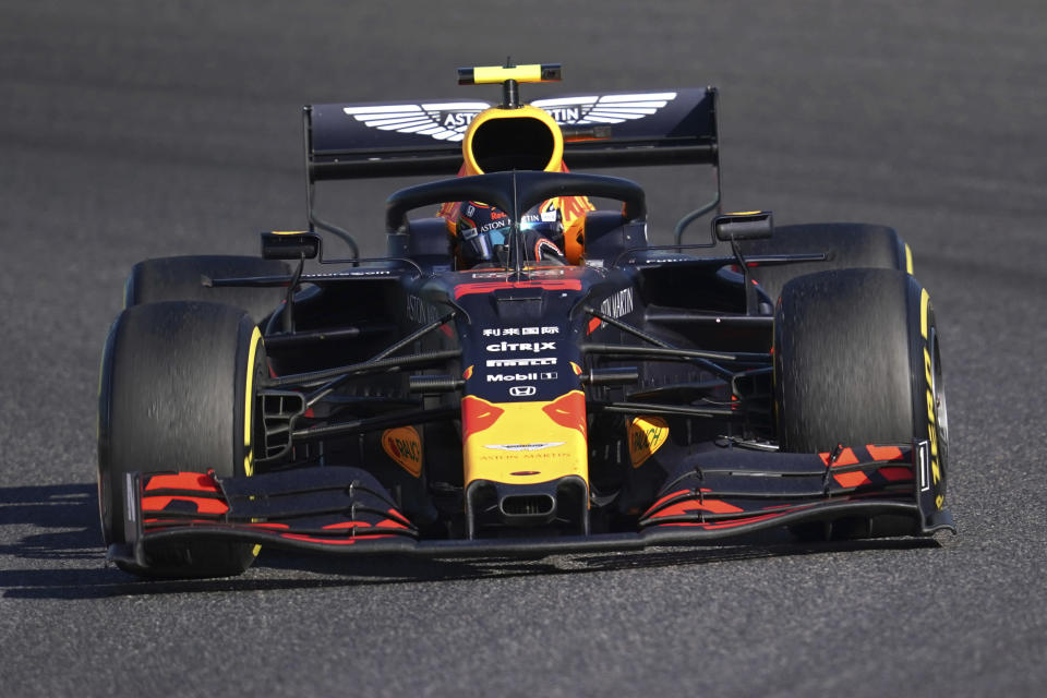 Red Bull driver Alexander Albon of Thailand steers his car during the Japanese Formula One Grand Prix at Suzuka Circuit in Suzuka, central Japan, Sunday, Oct. 13, 2019. F1 has always had a solid following in Southeast Asia. Having Albon performing as well as he is will only add to the sport's popularity in the region.(AP Photo/Toru Hanai)