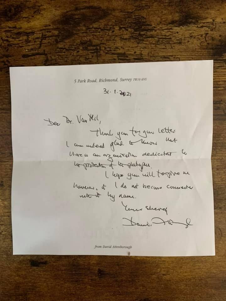 The short letter sent by Sir David Attenborough about the plight of the platypus in Australia. Source: Supplied