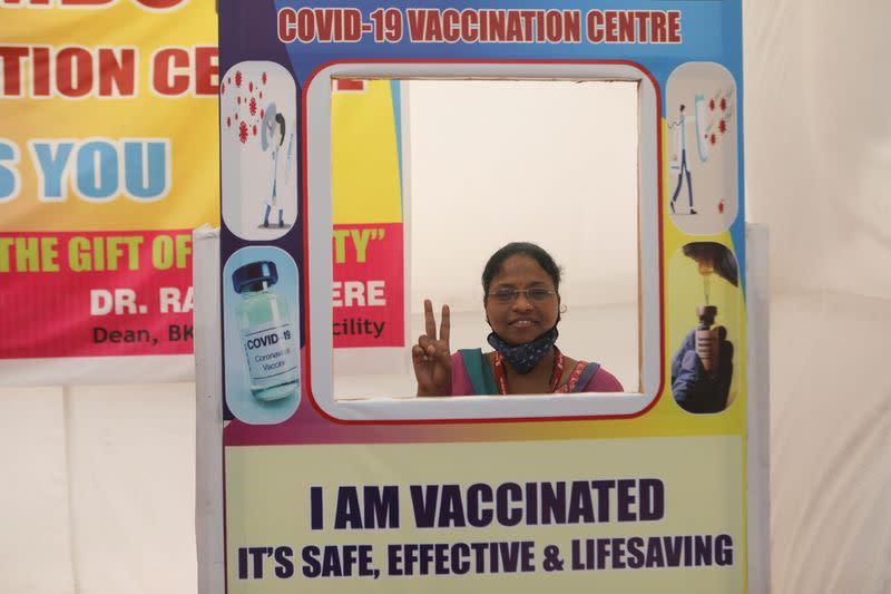 FILE PHOTO: COVID-19 vaccination campaign in Mumbai