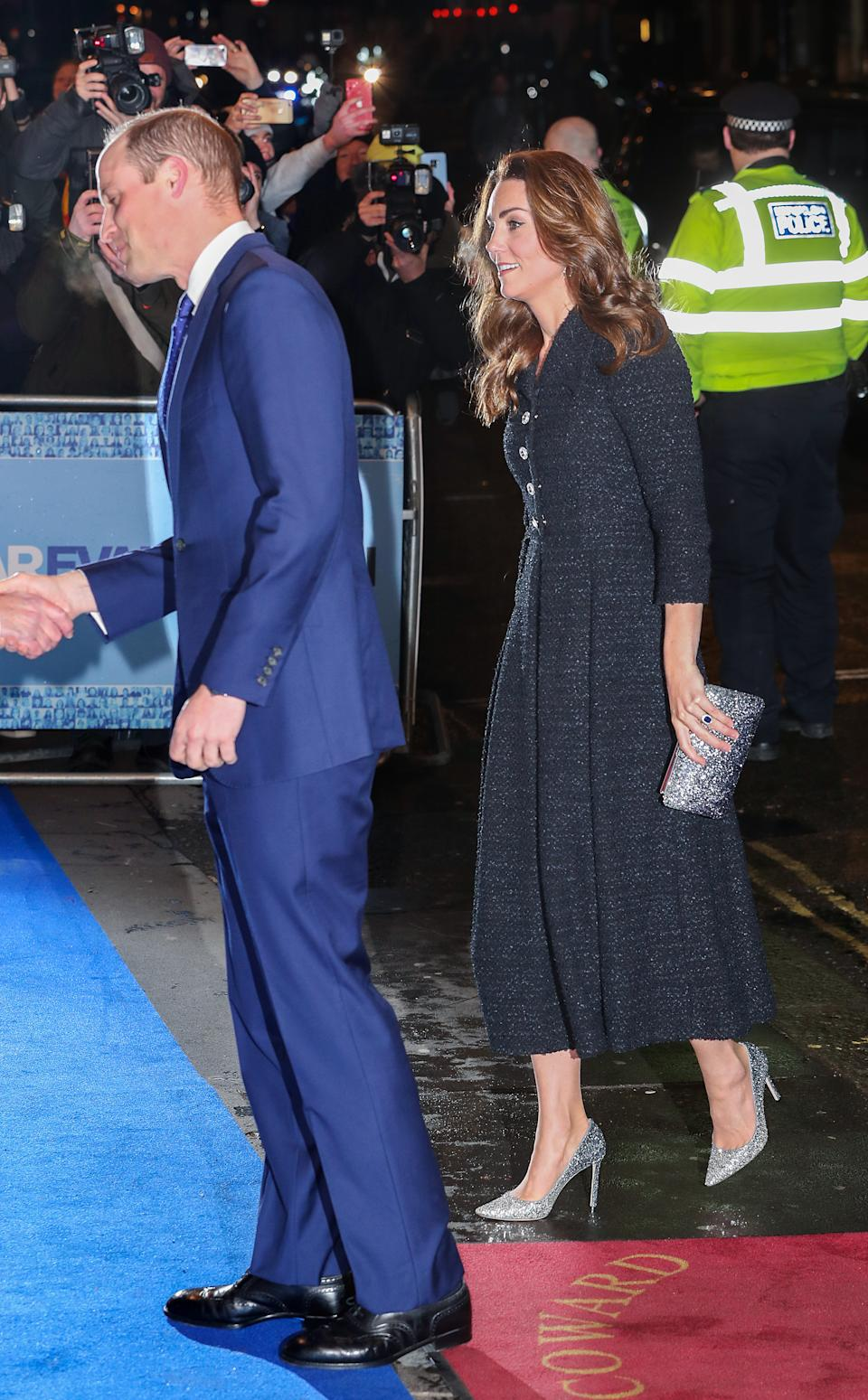 "LONDON, ENGLAND - FEBRUARY 25: The Duke and Duchess Of Cambridge attend a charity performance of ""Dear Evan Hansen"" in aid of The Royal Foundation at Noel Coward Theatre on February 25, 2020 in London, England. (Photo by Chris Jackson/Getty Images)"