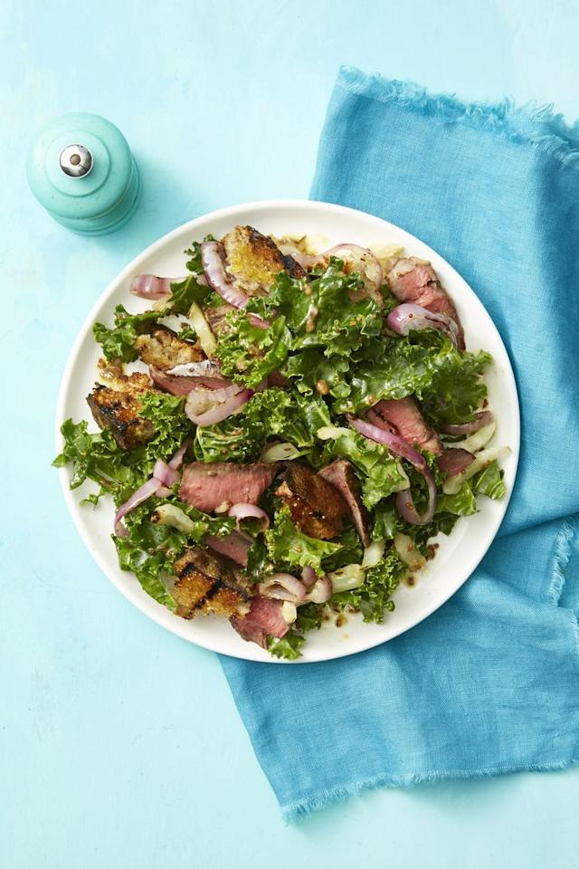 "<p>Caraway seeds and fennel add depth and flavor to this bread-based salad. </p><p><a href=""https://www.womansday.com/food-recipes/food-drinks/a21052947/steak-and-rye-panzanella-recipe/"" target=""_blank""><em>Get the recipe for Steak and Rye Panzanella.</em></a><em></em><br></p>"
