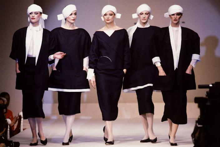 <p>Models on the runway at Claude Montana's spring 1983 ready-to-wear show. </p>