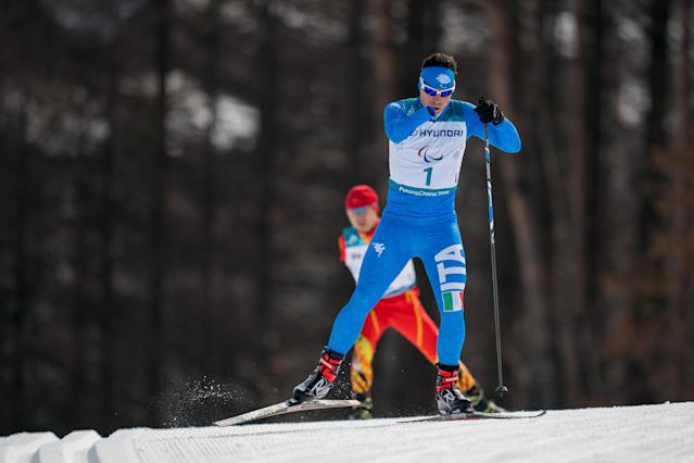 Cristian Toninelli ITA competes in the Standing Men's 20km Free Cross-Country Skiing at the Alpensia Biathlon Centre. The Paralympic Winter Games, PyeongChang, South Korea, Monday 12th March 2018. OIS/IOC/Bob Martin/Handout via REUTERS