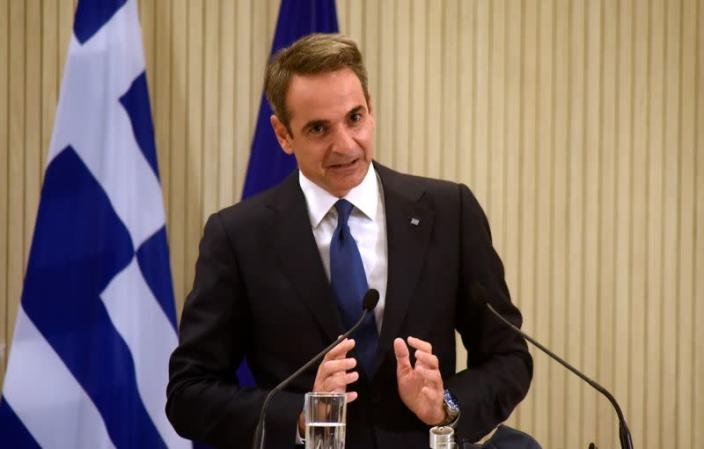Greek Prime Minister Kyriakos Mitsotakis speaks after a trilateral summit between Greece, Cyprus and Egypt in Nicosia