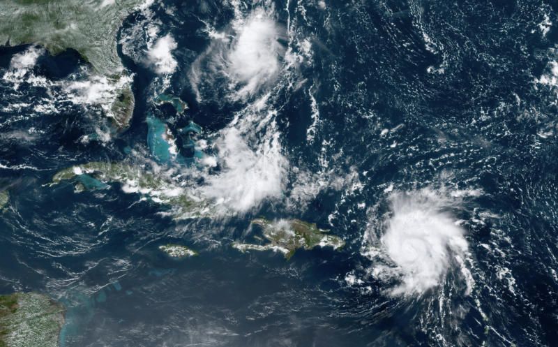 This GOES-16 satellite image taken Aug. 28, 209, at 17:20 UTC and provided by National Oceanic and Atmospheric Administration (NOAA), shows Dorian, a Category 1 hurricane, crossing over the U.S. and British Virgin Islands. Forecasters say it could grow to Category 3 status as it nears the U.S. mainland as early as the weekend. (Photo: NOAA via AP)