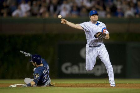 FILE PHOTO: Sep 10, 2018; Chicago, IL, USA; Chicago Cubs second baseman Daniel Murphy (3) completes a double play after forcing out Milwaukee Brewers right fielder Christian Yelich (22) during the fifth inning at Wrigley Field. Mandatory Credit: Patrick Gorski-USA TODAY Sports