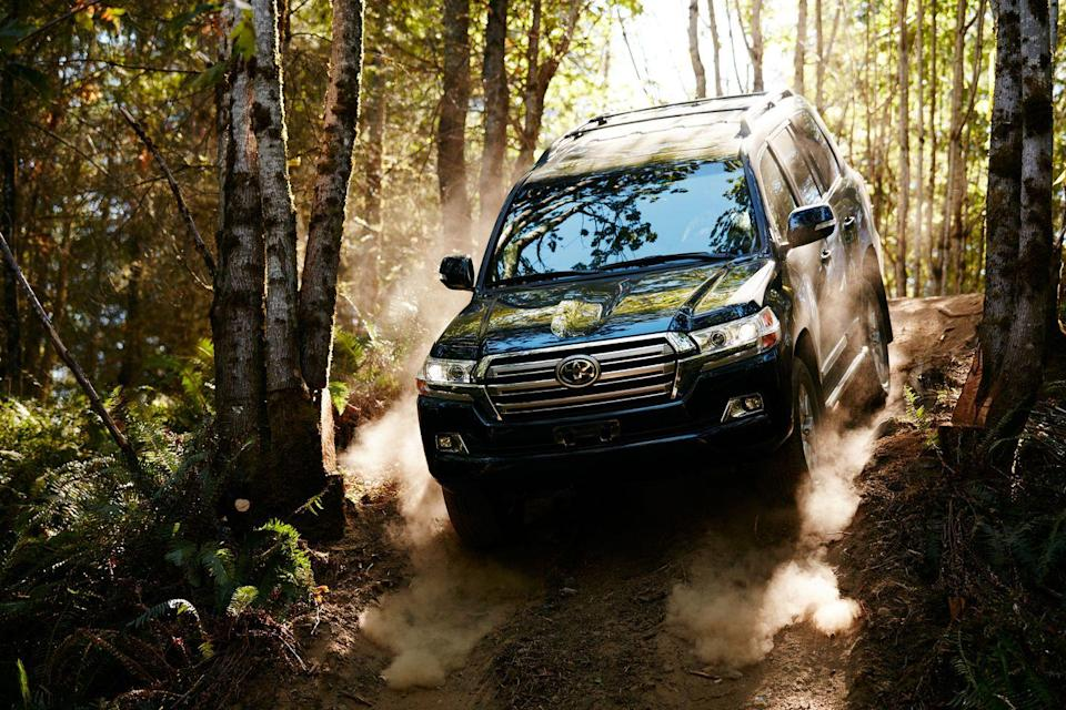 "<p>Every <a href=""https://www.caranddriver.com/toyota/land-cruiser"" rel=""nofollow noopener"" target=""_blank"" data-ylk=""slk:Toyota Land Cruiser"" class=""link rapid-noclick-resp"">Toyota Land Cruiser</a> is equipped with a full-time four-wheel-drive system with a Torsen locking center differential, a thumping 381-hp 5.7-liter V-8, skid plates to armor the underbody, and loads of high-tech digital assists for conquering terrain. In addition to its self-leveling suspension, this luxuriously detailed Toyota has the Multi-Terrain Monitor, which provides a near-360-degree view of the truck's surroundings. It also has what's called Off-Road Turn Assist that improves turning when using Crawl Control, which is a sort of low-speed adaptive cruise control.</p>"