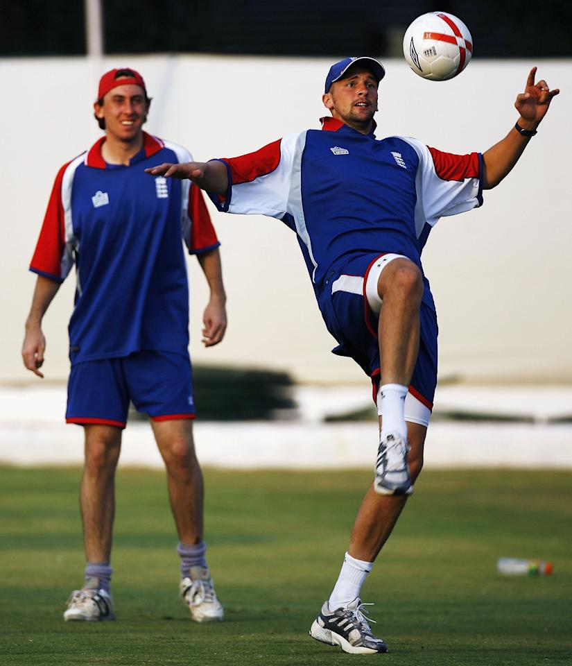 JAIPUR, INDIA - OCTOBER 19:  Steve Harmison and Rikki Clarke of England play football during a practice session ahead of the ICC Champions Trophy match between England and Australia, at the RCA Acadamy on October 19, 2006, in Jaipur, India.  (Photo by Clive Mason/Getty Images)