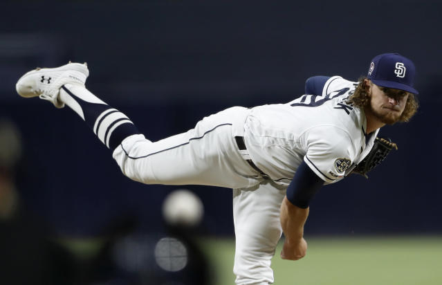 San Diego Padres starting pitcher Chris Paddack works against a Chicago Cubs batter during the first inning of a baseball game Wednesday, Sept. 11, 2019, in San Diego. (AP Photo/Gregory Bull)