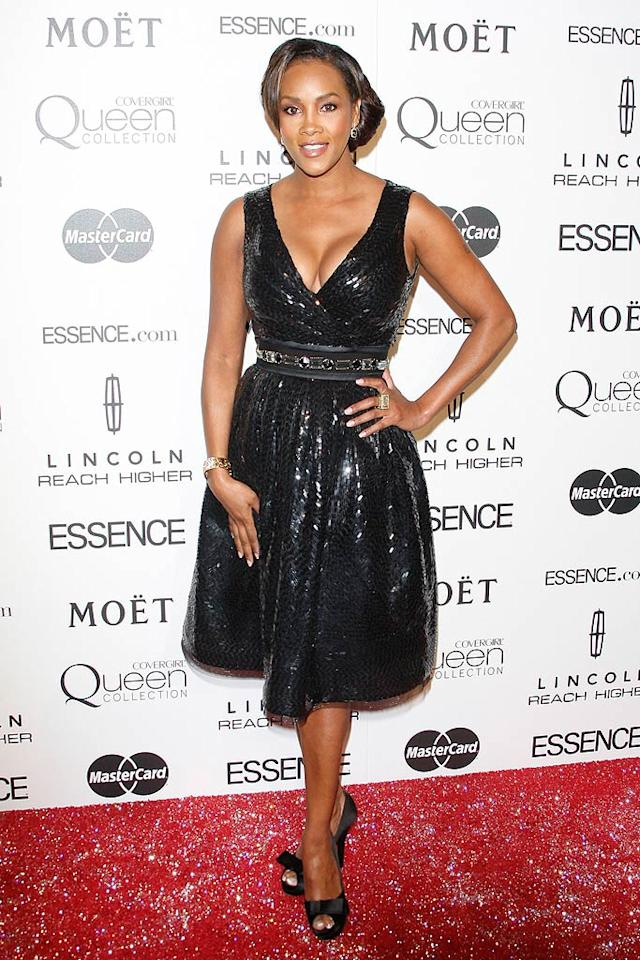 """Vivica A. Fox sparkled in her black flouncy frock. Ciao Hollywood/<a href=""""http://www.splashnewsonline.com/"""" target=""""new"""">Splash News</a> - March 4, 2010"""