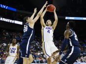 <p>LSU Tigers guard Skylar Mays (4) shoots the ball as Yale Bulldogs forward Paul Atkinson (20) defends in the first round of the 2019 NCAA Men's Basketball Tournament held at VyStar Veterans Memorial Arena on March 21, 2019 in Jacksonville, Florida. (Photo by Matt Marriott/NCAA Photos via Getty Images) </p>
