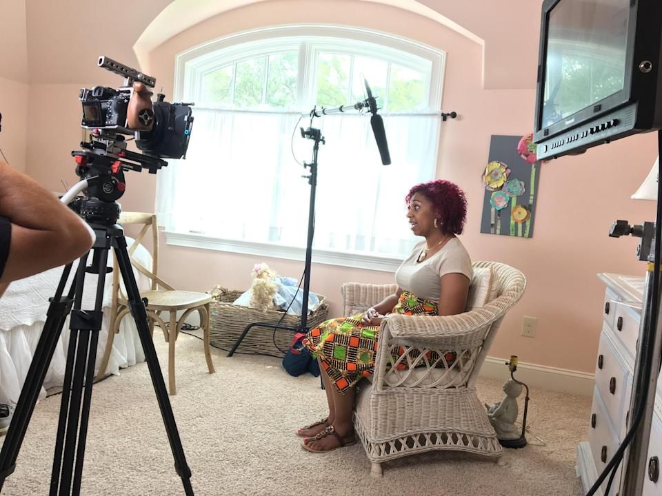 "Birth doula Chauntel Norris speaking on camera for ""Mother May I?"" (Photo: <em>Mother May I?</em>)"