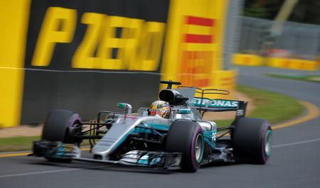 Formula One - F1 - Australian Grand Prix - Melbourne, Australia - 24/03/2017 Mercedes driver Lewis Hamilton of Britain laps the circuit during the first practice session. REUTERS/Jason Reed