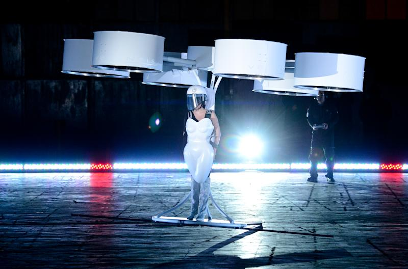 Lady Gaga unveils 'flying dress' at NY album fete
