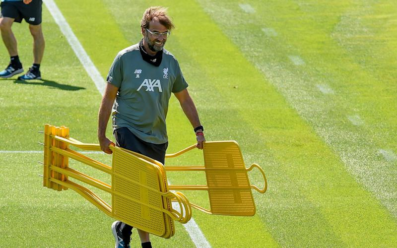 Jurgen Klopp manager of Liverpool during a training session at Melwood Training Ground - GETTY IMAGES