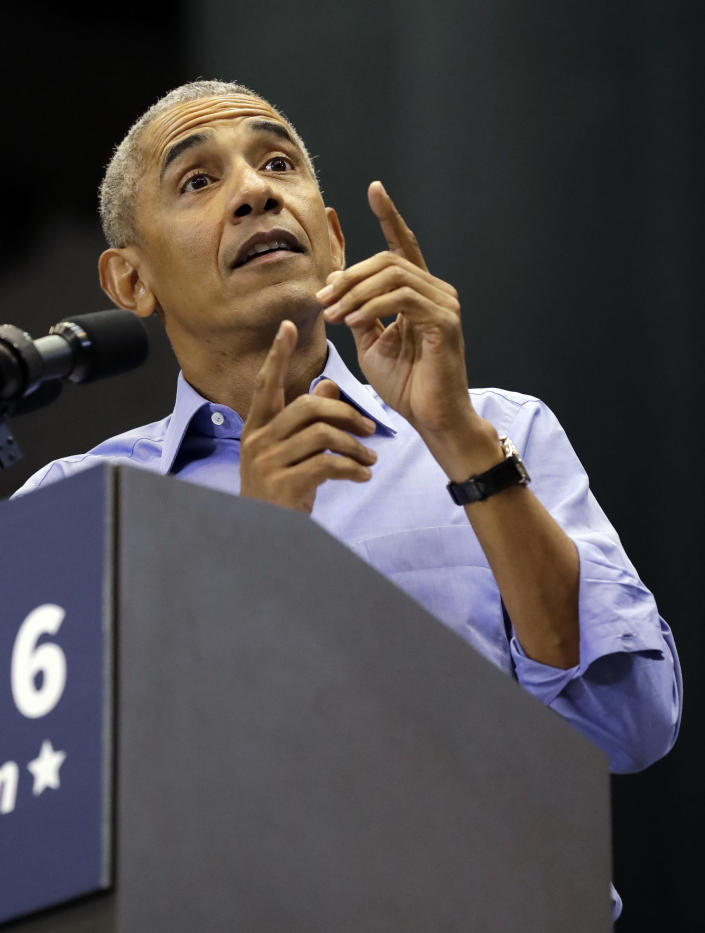 Former President Barack Obama speaks at a rally, Sunday, Nov. 4, 2018, in Gary, Ind. Obama rallied Democrats on behalf of Sen. Joe Donnelly, D-Ind., who faces a stiff challenge from Republican businessman Mike Braun. (AP Photo/Nam Y. Huh)