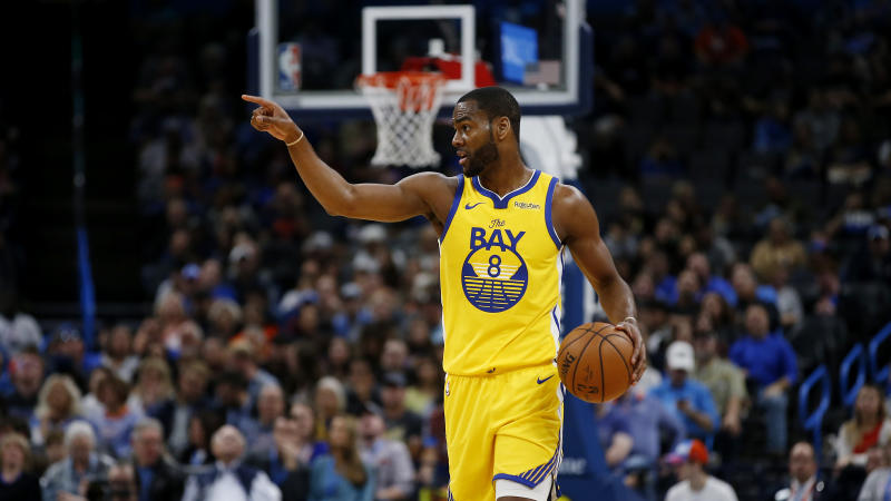 Golden State Warriors' Alec Burks (8) during the first half of an NBA basketball game in Oklahoma City, Saturday, Nov. 9, 2019. (AP Photo/Garett Fisbeck)