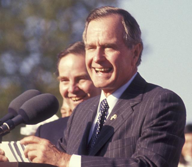 George H.W. Bush attends Campaign Rally on October 22, 1992, at Veterans Field in Ridgewood, New Jersey.