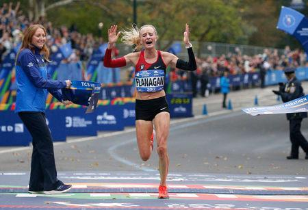 Shalane Flanagan of the U.S. crosses the finish line to win the Women's race of the New York City Marathon in Central Park in New York, U.S., November 5, 2017. REUTERS/Brendan McDermid