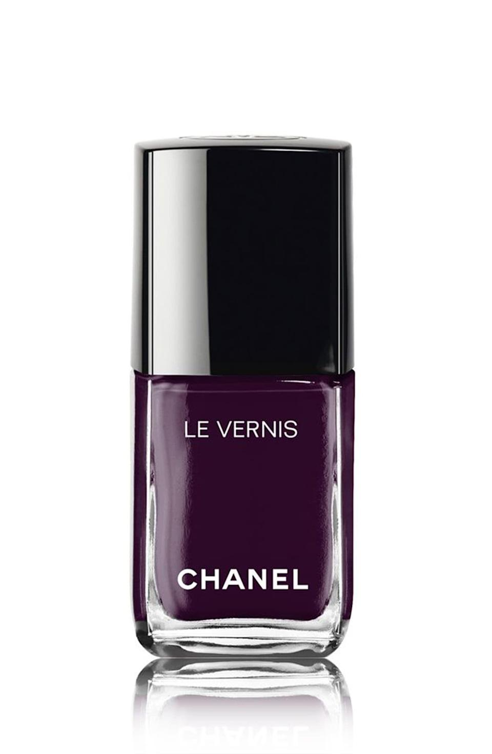 """<p><strong>Chanel</strong></p><p>nordstrom.com</p><p><strong>$28.00</strong></p><p><a href=""""https://go.redirectingat.com?id=74968X1596630&url=https%3A%2F%2Fwww.nordstrom.com%2Fs%2Fchanel-le-vernis-longwear-nail-colour%2F4296192&sref=https%3A%2F%2Fwww.marieclaire.com%2Fbeauty%2Fnews%2Fg3310%2Fbest-nail-colors-winter%2F"""" rel=""""nofollow noopener"""" target=""""_blank"""" data-ylk=""""slk:SHOP IT"""" class=""""link rapid-noclick-resp"""">SHOP IT</a></p><p>'Tis the season to be moody, and this elegant color injects a little bit of darkness into your wardrobe without going fully gothic. </p>"""