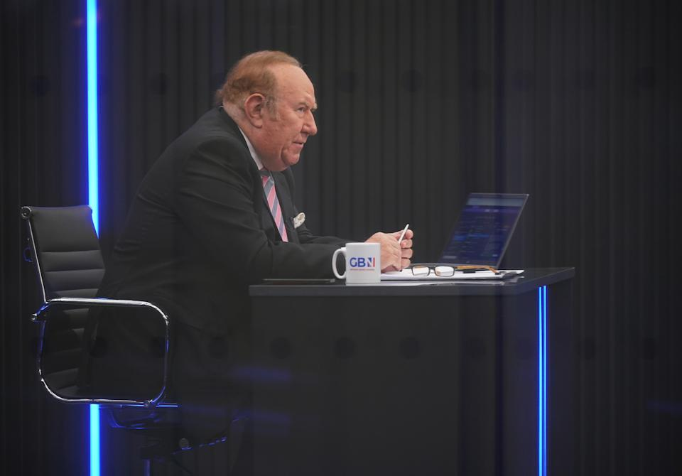 Presenter Andrew Neil prepares to broadcast from a studio during the launch event for new TV channel GB News at The Point in Paddington, London. Picture date: Sunday June 13, 2021.