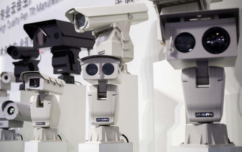 AI (Artificial Inteligence) security cameras using facial recognition technology are displayed at the 14th China International Exhibition on Public Safety and Security at the China International Exhibition Center in Beijing on October 24, 2018. (Photo by NICOLAS ASFOURI / AFP) (Photo credit should read NICOLAS ASFOURI/AFP via Getty Images)