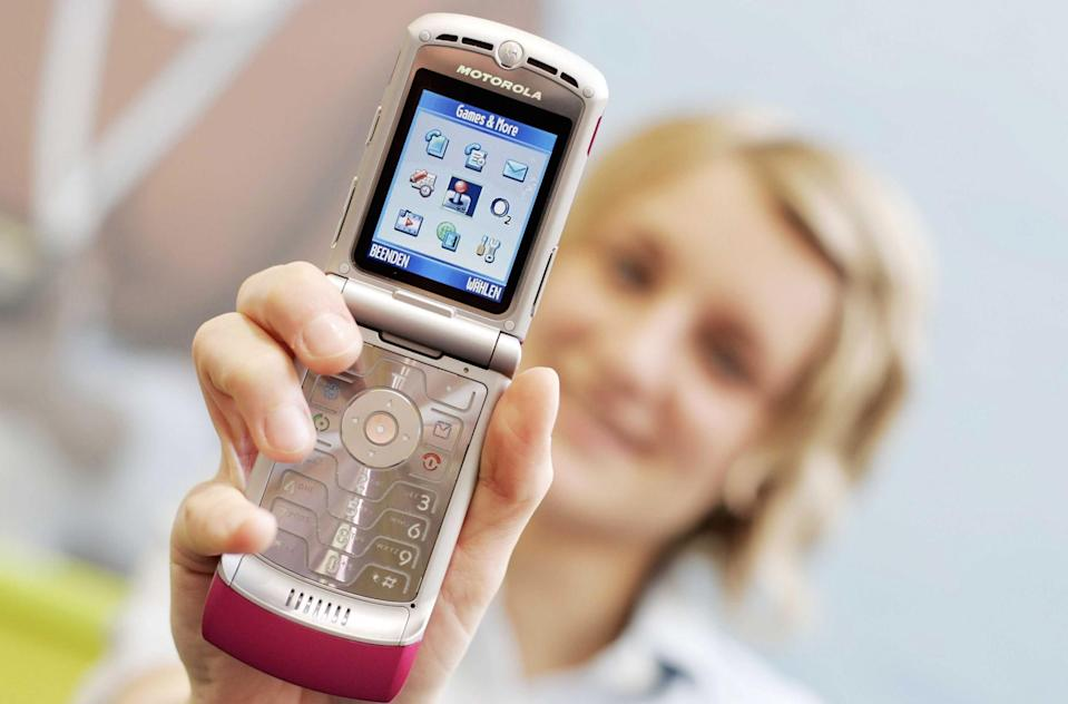 <p>Designed and marketed as a fashion accessory, the Razr was first launched in 2004 and more than 130 million of the V3 model were eventually sold. The V3 was the slimmest clamshell phone around with a flashy metal keypad, making it a design classic. (Sipa Press/REX/Shutterstock) </p>