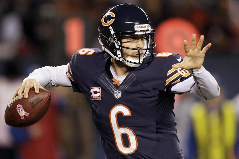 Chicago Bears quarterback Jay Cutler (6) passes against the Detroit Lions in the first half of an NFL football game in Chicago, Monday, Oct. 22, 2012. (AP Photo/Nam Y. Huh)