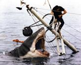 """<a href=""""http://movies.yahoo.com/movie/jaws/"""" data-ylk=""""slk:JAWS"""" class=""""link rapid-noclick-resp"""">JAWS</a> (1975) <br>Directed by: <span>Steven Spielberg</span> <br>Starring: <span>Roy Scheider</span>, <span>Robert Shaw</span> and <span>Richard Dreyfuss</span>"""