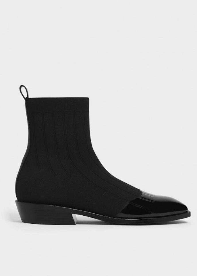 """$69, Charles & Keith. <a href=""""https://www.charleskeith.com/us/shoes/knitted-ankle-boots-black-ck1-91680055.html"""">Get it now!</a>"""
