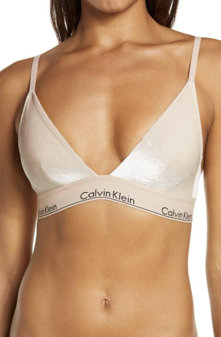 <p>For a sporty-chic alternative that still leaves you feeling supported, this <span>Calvin KleinUnlined Velvet Triangle Bra</span> ($38) will do the trick.</p>