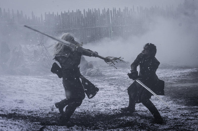 Kit Harington does battle as Jon Snow in Games of Thrones,