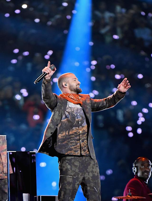 <p>Recording artist Justin Timberlake performs onstage during the Pepsi Super Bowl LII Halftime Show at U.S. Bank Stadium on February 4, 2018 in Minneapolis, Minnesota. </p>