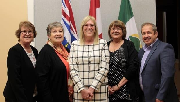 From left to right: Pouce Coupe Coun. Barb Smith, Coun. Donna White, Mayor Lorraine Michetti, Coun. Marlene Hebert and Coun. Ken Drover. Councillors asked Michetti to resign after she published a Facebook post that many people condemned as racist.