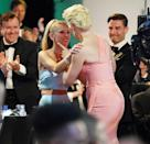 <p>Juno Temple congratulated Waddingham as she made her way to the stage to accept her first-ever Emmy. The <em>Ted Lasso</em> costars were both nominated for outstanding supporting actress in a comedy series.</p>
