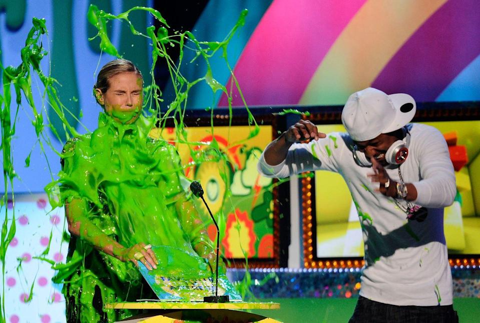 <p>Bold move wearing all-white to an event that's literally most famous for slime.</p>