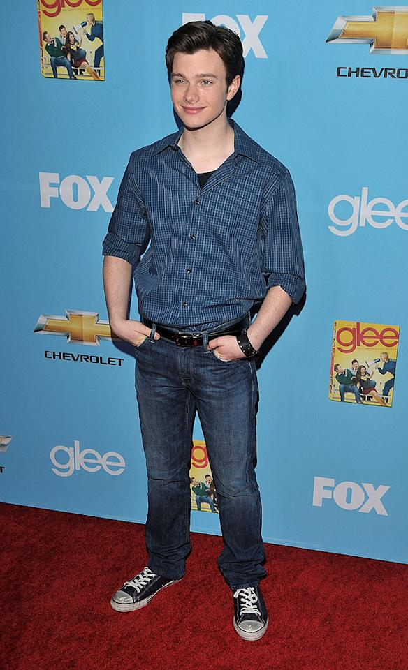 "Chris Colfer, 20, hit the red carpet looking like an average high school student in denim and casual kicks. Lester Cohen/<a href=""http://www.wireimage.com"" target=""new"">WireImage.com</a> - September 7, 2010"