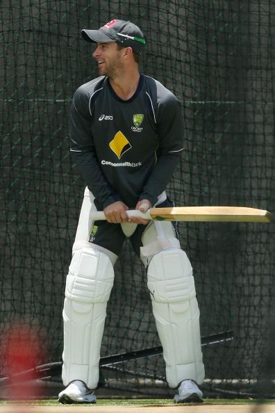 BRISBANE, AUSTRALIA - NOVEMBER 07:  Matthew Wade bats during an Australian nets session at The Gabba on November 7, 2012 in Brisbane, Australia.  (Photo by Chris Hyde/Getty Images)